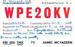 Amateur Radio Contact SWL Card From WP2OKV - Pleasantville, NJ - 1968 - 2 Scans - Radio Amateur