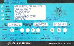 Amateur Radio Contact SWL Card From WPE6ETT/SH-W6-109 In 1967 - 2 Scans - Radio Amateur