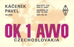 Amateur Radio QSL Card - OK1AWO - Czechoslovakia - 1976 - 2 Scans - Radio Amateur