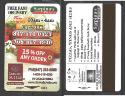 Hotel  - Comfort Suites, O´Hare Airport, Chicago Illinois, Sarpino´s Pizza - Hotel Keycards