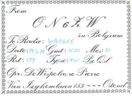 Amateur Radio QSL Card - ON6LW - Ostend, Belgium - 1978 - Radio Amateur