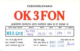 Amateur Radio QSL Card - OK3FON - Kosice, Czechoslovakia - 1977 - Radio Amateur