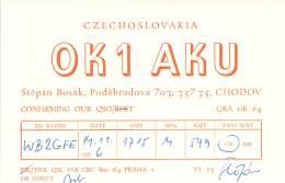 Amateur Radio QSL Card - OK1AKU - Chodov, Czechoslovakia - 1976 - Radio Amateur