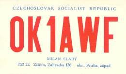 Amateur Radio QSL Card - OK1AWF - Praha, Czechoslovakia - 1976 - 2 Scans - Radio Amateur
