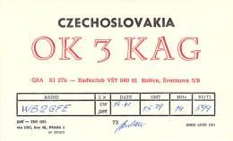 Amateur Radio QSL Card - OK3KAG - Svermova, Czechoslovakia - 1976 - Radio Amateur