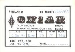 Amateur Radio QSL Card - OH1AR Club Station - Finland - 1977 - Radio Amateur