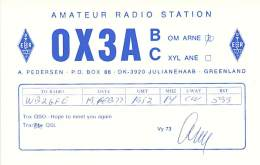 Amateur Radio QSL Card - OX3AB - Julianehaab, Greenland - 1976 - Radio Amateur