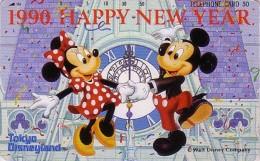 Télécarte Japon / 110-79082 - DISNEY - NOUVEL AN - HAPPY NEW YEAR 1990 - Mickey Minnie Danse Dance - Japan Phonecard - Disney