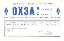 Amateur Radio QSL Card - OX3AB - Julianehaab, Greenland - 1977 On 21MHz - Radio Amateur