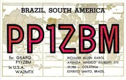 Amateur Radio QSL Card - PP1ZBM - Espirito Santo, Brazil - 1977 - 2 Scans - Radio Amateur