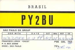 Amateur Radio QSL Card - PY2BU - Sao Paulo, Brazil - 1977 - Radio Amateur