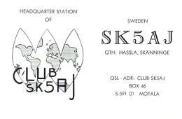 Amateur Radio QSL Card - SK5AJ Club Station - Hassla, Skanninge Sweden - 1976 - 2 Scans - Radio Amateur