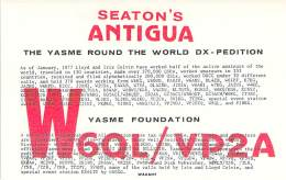 Amateur Radio QSL Card - W6QL/VP2A - YASME DXpedition - Antigua - 1977 - 2 Scans - Radio Amateur