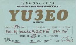Amateur Radio QSL Card - YU3EO - Piran, Yugoslavia - 1977 - Radio Amateur