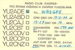 Amateur Radio QSL Card - YU2ADE Radio Club Zagreb, Yugoslavia - 1977 - Radio Amateur