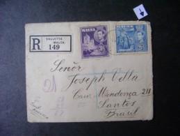 MALTA - VALLETTA OF REGISTERED LETTER TO SANTOS (BRAZIL) IN 1938 AS - Malta