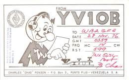 Amateur Radio QSL Card - YV1OB - Punto Fijo, Venezuela - 1976 - Radio Amateur