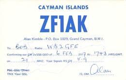 Amateur Radio QSL Card - ZF1AK - Grand Cayman Islands, BWI - 1977 - Radio Amateur