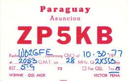 Amateur Radio QSL Card - ZP5KB - Asuncion, Paraguay - 1977 - Radio Amateur