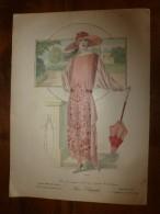 1922  Grande Gravure De Mode  PARIS ELEGANT (robe D'après-midi, Pl 322) , Editeur Gaston Drouet, Dimensions 38cm X 27cm - Litografia