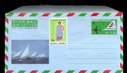 AEROGRAMME AEROGRAM AIR LETTER STATIONERY * MALDIVES * SAIL SHIP UPRATED UNUSED - Maldiven (1965-...)