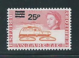 British Antarctic Territory 1971 QEII Definitive Decimal Surcharges 25p Snow Cat MNH - Unused Stamps