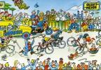 """CYCLISME  """" TOUR DE FRANCE 1984  / BANANIA  """" ETAPE N° 11  """" ILLUSTREE PAR GUERRIER  CPSM / CPM  15 X 21   TTBE - Publicité"""