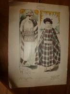 1922 Grande Gravure De Mode Le Cachet De Paris(Marcel Pannetier,Chantraine-Epinal):1609 Pour La Mer,1610 De Chez Poiret - Lithographies