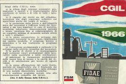 TESSERA CGIL CONFED GENERALE ITAL LAVORO FIDAE ENEL 1966 NURAXI FIGUS SARDEGNA - Historical Documents