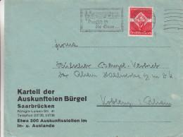 Allemagne - Empire - Lettre De 1935 ° - Oblitération Saarbrücken - Musique -Deutsch Ist Die Saar - Briefe U. Dokumente