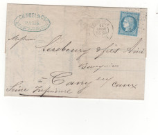 Lac 1873  étoile N°24  Rue De Cléry (TAD Au Verso Ambulant Paris Au Havre) - Marcophilie (Lettres)