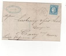 Lac 1873  étoile N°24  Rue De Cléry (TAD Au Verso Ambulant Paris Au Havre) - Storia Postale