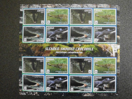 Ghana 2016 - WWF Slender-Snouted Crocodile - Complete Sheet 16 Stamps - Timbres