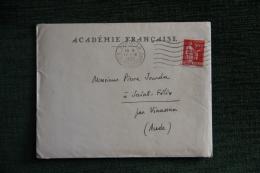 Enveloppe Timbrée Publicitaire  Avec Lettre - ACADEMIE FRANCAISE. - France