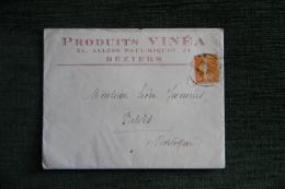 Enveloppe Timbrée Publicitaire  Avec Lettre - BEZIERS, Produits VINEA, 31 Allées Paul RIQUET - Francia
