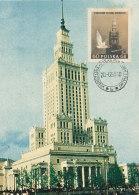 D24588 CARTE MAXIMUM CARD 1959 POLAND - WARSZAWA PALCACE OF CULTURE AND PEACE CP ORIGINAL - Architecture