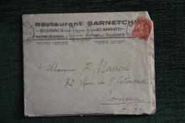 Enveloppe Timbrée Publicitaire  Avec Lettre - BIARRITZ , Restaurant BARNETCHE, 5 Bis Avenue FLOQUET - Lettres & Documents