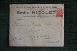 Enveloppe Timbrée Publicitaire  Avec Facture  - MONTEUX, Pépinières De Vignes , Emile NICOLET, Viticulteur. - Non Classés