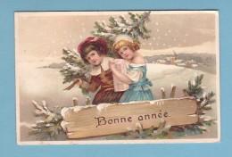 BONNE ANNEE - ENFANTS Sur Fond De Paysage D'hiver, RELIEF / PRÄGE // Circulée En 1909 - Anno Nuovo