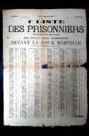 Commune De Paris 1871 - 1er Liste Des Prisonniers Qui Doivent Passer Devant La Cour Martiale - Armée De Versailles - Historical Documents
