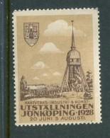 """1928 Utstallningen Jonkoping Reklamemarke Poster Stamp Vignette Never Hinged 1 1/2 X 2"""" - Cinderellas"""