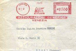 11675 Italia Red Meter/freistempel/EMA/affrancatrice Rossa,1952 Venezia Assicurazioni Generali, Circuled Cover - Machine Stamps (ATM)