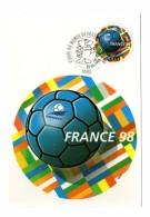 Sport Football France 98 Cachet Commemoratif Entier Postal Port Payé 1998 Coupe Du Monde Mondial - Football