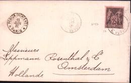 Lettre Paris Amsterdam 1886 Lippmann & Rosenthal Amsterdam Hollande Pays Bas Type Sage YT # 97 Cachet Perier & Cie - 1849-1876: Klassieke Periode