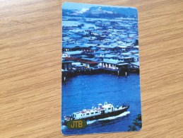 20$ Ship On River - Old Card JTB - B 198236-  In  Used Condition - Brunei