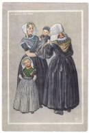 Dutch Fashion Artist Image, Zuid Beveland 1898, Women With Baby, C1940s Vintage Postcard - Europe