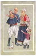 Dutch Fashion Artist Image, Marken 1948, Young Family, C1940s Vintage Postcard - Europe