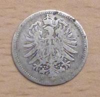 ALLEMAGNE 20 PFENNIG ARGENT 1874 G - [ 2] 1871-1918: Deutsches Kaiserreich