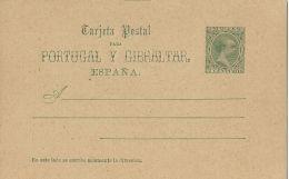 SPAGNA SPAIN PORTUGAL Y GIBRALTAR 5 C ALFONSO XIII PELON 1890 NEW - Entiers Postaux