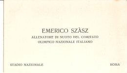 BIGLIETTO DA VISITA EMERICO SZASZ  ALLENATORE DI NUOTO DEL C. O. N. I. ANNI '30 - Cartoncini Da Visita